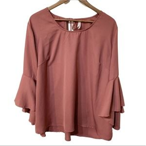 LIVE FOR TRUTH Women's Blush Bell Sleeve Blouse 3X